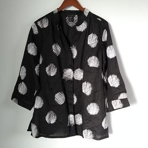 Anne Carson linen black and white embroidered blouse size 1X